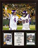 """NFL 12""""x15"""" Adrian Peterson-Brett Favre Minnesota Vikings Player Plaque"""