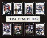 """NFL 12""""x15"""" Tom Brady New England Patriots 8 Card Plaque"""