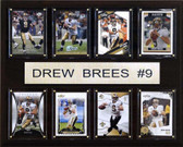 "NFL 12""x15"" Drew Brees New Orleans Saints 8 Card Plaque"