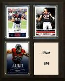 """NFL 8""""x10"""" JJ Watt Houston Texans Three Card Plaque"""