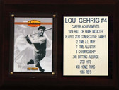 """MLB 6""""X8"""" Lou Gehrig New York Yankees Career Stat Plaque"""
