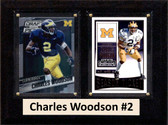 """NCAA 6""""X8"""" Charles Woodson Michigan Wolverines Two Card Plaque"""