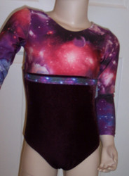 Cute long sleeve gymnastics and/or dance leotard in a COSMIC spandex print split with burgundy velvet and split with a row of coordinating trim. Free scrunchie as always