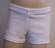 Perfectly priced shiny white premium spandex gymnastics and/or dance shorts.