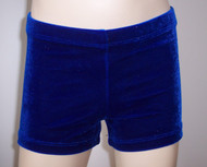 Perfectly priced royal blue velvet gymnastics and/or dance shorts.