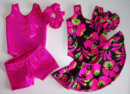 "MIX & MATCH - 2 leotards, 1 pair shorts, 1 skirt and 2 scrunchies in the hologram, metallic or standard spandex fabrics shown.  Jillybeans 18"" doll leotards were made to fit the American Girl Dolls, but will fit most other 18"" similar body type dolls, including My Life and Our Generation.  All items will be tagged and bagged prior to shipment. FREE SHIPPING ON OUR DOLL LEOTARDS!"