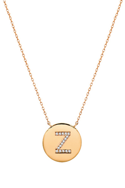 14k gold diamond initial disc necklace