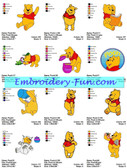 CLASSIC POOH DISNEY CARTOON MACHINE EMBROIDERY DESIGNS