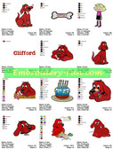 CLIFFORD CARTOON EMBROIDERY MACHINE DESIGNS