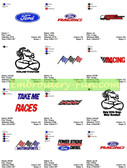 FORD RACING AUTO SPORTS STREET EMBROIDERY DESIGNS