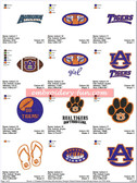 Set of 18 Auburn Tigers University Football Embroidery Designs