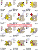 WINNIE THE POOH CLASSIC ALPHABETS NUMBERS FONTS EMBROIDERY DESIGNS
