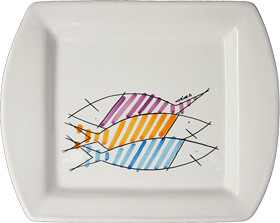 Square Serving Tray - Happy Fish