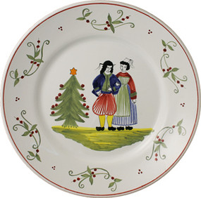 "Quimper Round Plate 11"" Couple - Decor Spirit of Christmas"
