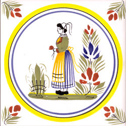 Woman - Henriot w/ Yellow Circle Tile Quimper