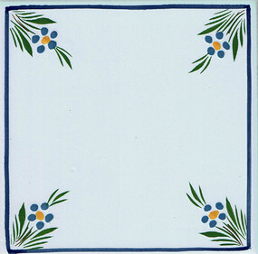 Flowers in Corners - Jardin d'ete Tile