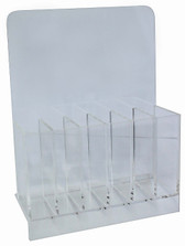 Practical Clear File Stand for a variety of files, Clear stand divided into 6 sections, Each section measures 2.2width x 8length x 4.5depth cm, Fits about 10 files in each section.
