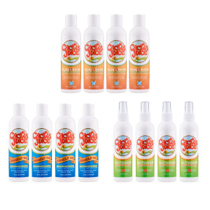 Four 8oz, 20 SPF, sunscreen/repellents Four 8oz Miracle Gels Four 6oz Eco-sprays