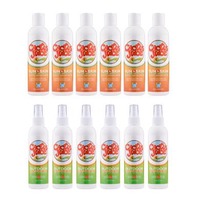 Six 8oz, 20 SPF, sunscreen/repellents Six 6oz Eco-sprays
