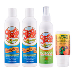 Two 8oz Miracle Gels One 6oz Eco-spray One 2.5oz, 20 SPF, sunscreen/repellent