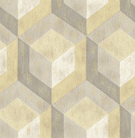 Rustic Wood Tile Honey Geometric Wallpaper
