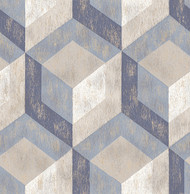 Rustic Wood Tile Blue Geometric Wallpaper