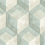 Rustic Wood Tile Green Geometric Wallpaper