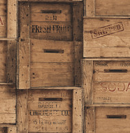 Wood Crates Brown Distressed Wood Wallpaper