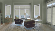 Fabric: Elan® Color: Pesto Operating System: SoftTouch™ Motorization Mount: Inside Mount Opacity: Semi-Opaque