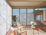 Fabric: Sankaty™ Color: Kiawan Opacity: Translucent Mount: Inside Mount Operation: UltraGlide®