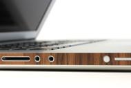 Macbook with side wraps in walnut