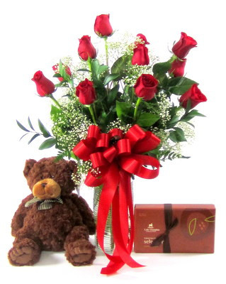 Dozen Roses, Lake Champlain Chocolates, Teddy Bear