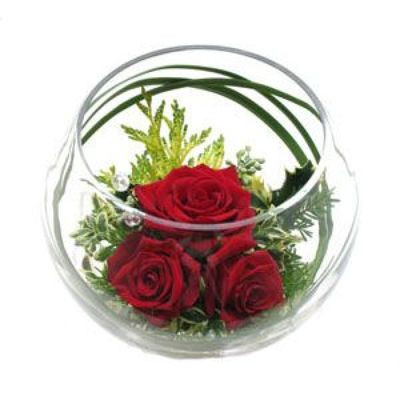 Floating Red Rose Bowl