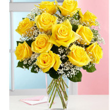 Dozen Sunny Yellow Roses Arranged
