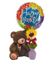 Smiley Face Sun Flower, Happy Birthday Balloon & Teddy Bear