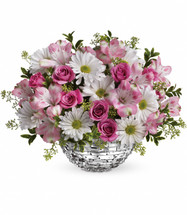 Facets of Spring Centerpiece with white daisies, pink spray roses the perfect centerpiece for your Holiday table. Think Spring