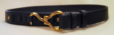 The Hoof pick belt is fashion and function combined. This original is a redesigned belt which was popular during the 1960's. The folding hoof pick and ring holder are reproductions of 19th century stable requisites.