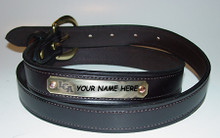 Leather Belt with Engraved Nameplate