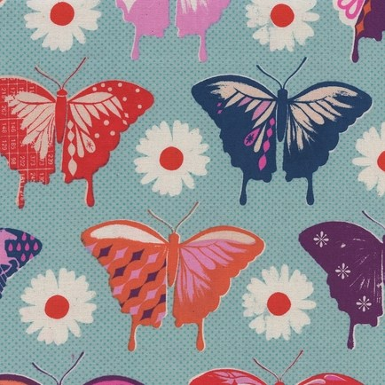 Butterlies Aqua from the Flutter collection by Cotton + Steel