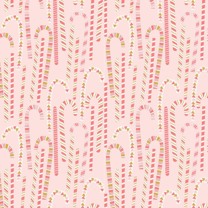 Candy Cane Forest Pink from the Kringle's Sweet Shop collection by Blend Fabrics. 100% cotton