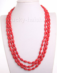 """17""""-19"""" 3row 5X8mm olivary red coral necklace magnet clasp j10163"""