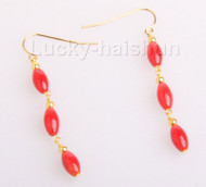 """1.5"""" 5X8mm olivary red coral Earrings 14K gold hook  j10162"""