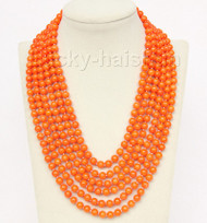 """16""""-21"""" 6row 7mm round orange yellow coral necklace magnet clasp j9778"""