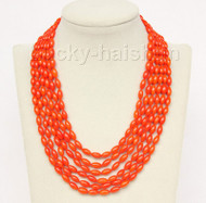 """16""""-21"""" 6row 5X8mm olivary orange coral necklace magnet clasp j9777"""