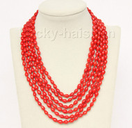 """16""""-21"""" 6row 5X8mm drip red coral necklace magnet clasp j9776"""
