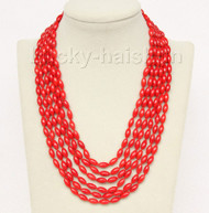 """16""""-21"""" 6row 5X8mm olivary red coral necklace magnet clasp j9775"""