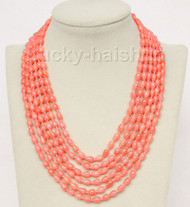 """16""""-21"""" 6row 5X8mm drip pink coral necklace magnet clasp j9774"""