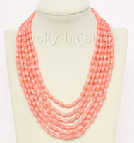 """16""""-21"""" 6row 5X8mm olivary pink coral necklace magnet clasp j9773"""