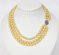 """16"""" 3row 8mm round yellow sea shell pearls necklace 925 silver clasp j9587"""