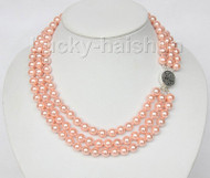 16 inch 3row 8mm round pink sea shell pearls necklace 925 silver clasp j9585